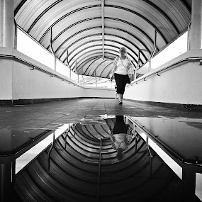 reflection by Firdaus Hadzri - City,  Street & Park  Street Scenes ( reflection, black and white, penang, komtar, street photography, firdaus hadzri )