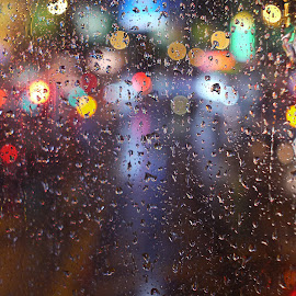 From a tram.... by Nick Hopton - Abstract Water Drops & Splashes ( lights, water, night, raindrops, city )