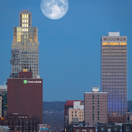 Omaha, Nebraska by Mitch Tranmer - City,  Street & Park  Skylines ( omaha, building, nebraska, city skyline, moonrise )