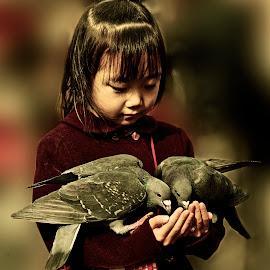girl with pigeons.... by Stanley P. - Babies & Children Children Candids ( girl, tokyo, street scene, portrait )
