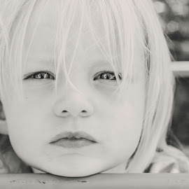 Waiting and thinking by Kelly Murdoch - Babies & Children Child Portraits ( face, uk, stare, bw, skin, portrait, ztam, eyes, looking, child, england, thinking, female, iow, lips, isle of wight, toddler, mono, hair )