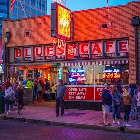 Beale Street Night Life by Joe Machuta - City,  Street & Park  Night ( beale street, memphis, blues )