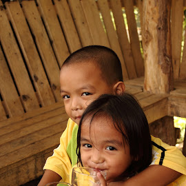 Siblings  by Wing Yin Cheong - Babies & Children Child Portraits ( love, sister, hut, asia, smile, bother, philippines, and )