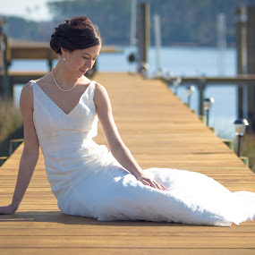 Sarah Martin by Josiah Blizzard - Wedding Bride ( wedding, dress, lake, bride, sarah, dock )