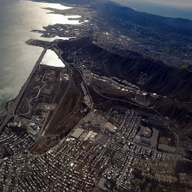 from a plane windows pano by Tom Davison - Landscapes Travel ( pano, plane, california, birdseyeview, panorama,  )