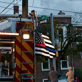 Responders Flag by Lynn Chendorain - City,  Street & Park  Neighborhoods ( ladder, bystanders, equipment, stripes, house on fire, smoke, responder, fire engine, rescuers, hose, flag, fireman, firetruck, up one the roof )