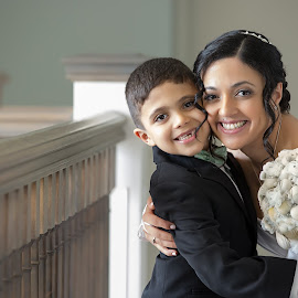 Bride and Son on Wedding Day by Kimberly Arend Porter - Wedding Bride ( wedding photography, seashells, beach, beach wedding, new jersey )