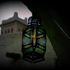 Lantern by Lisa Silva - Buildings & Architecture Other Exteriors ( lantern, building, sunset, morocco, light, dusk, city )