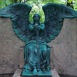 Winged Angel by Carl Chalupa - Buildings & Architecture Statues & Monuments ( memorial, cemetery, winged angel,  )