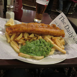 Fish and Chips by Angie Keverne - Food & Drink Plated Food ( chips, food, fish, plate, launceston, cornwall, peas, large )