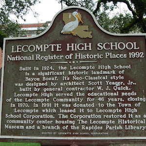Built in 1924, the Lecompte High School is a significant historic landmark of Bayou Boeuf. It's Neo-Classical style was designed by architect Scott Yeager, Jr., built by general contractor W. J. ...