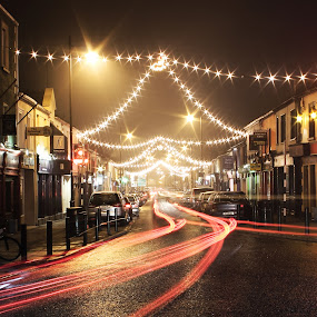 light  by Michael Croghan - Public Holidays Christmas ( red, town lights, cars, white, city lights, light trails, streets, christmass lights )