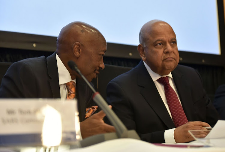 South African Revenue Service Commissioner Tom Moyane and Finance Minister Pravin Gordhan. Picture: FREDDY MAVUNDA