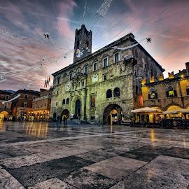 Piazza del Popolo  by Emanuele Zallocco - City,  Street & Park  Historic Districts ( lights, famous, reflection, hystorical, travertino, ascoli, square, italy, piceno )