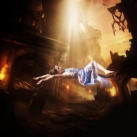 falling slowly by Elizabeth Robinette - Digital Art People ( apocolypse, death, digital art, destruction, ruins, light, fire, emotion,  )