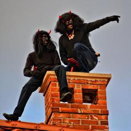 Devils at chimney by Borna Cuk - People Street & Candids ( roof, housing, devils, chimney, devil )