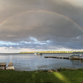 Rainbow by Theresa Murray - Landscapes Weather ( rainbow oneida lake summer2016 rain sun panoramic )