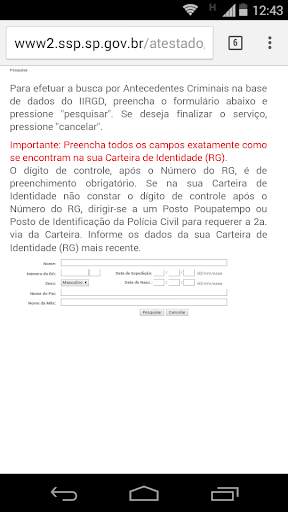 Antecedentes Criminais-s/prop. - screenshot