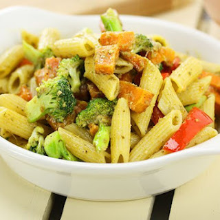 Pesto Penne with Sweet Potato & Broccoli