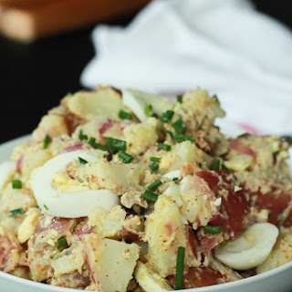 Easy Potato Salad with Bacon and Creamy Thyme Mustard Sauce