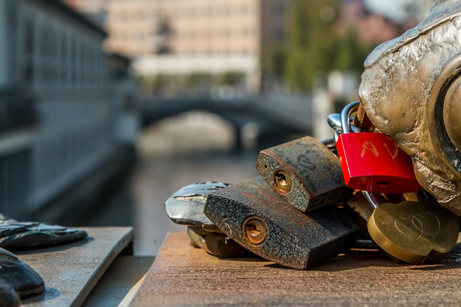 by Mario Horvat - Artistic Objects Still Life ( water, love, sculpture, slovenia, locks, ljubljana, bridge, ljubljanica, river,  )