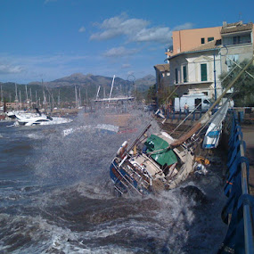 Storm damages by Peter Wabbel - News & Events Weather & Storms ( sea, storm, mallorca, port of andratx, pwcstorms-dq )