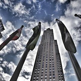 Rockefeller.... by Steve Williams - City,  Street & Park  Skylines ( flags, sky, new york, rockerfeller centre )