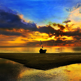 Sunrise by Arthit Somsakul - Landscapes Beaches ( water, tone, red, sky, blue, sunset, sunrise, beach, boat, sun, reflex )