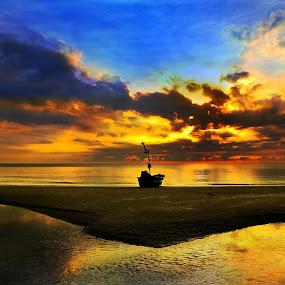 Sunrise by Arthit Somsakul - Landscapes Beaches ( water, tone, red, sky, blue, sunset, sunrise, beach, boat, sun, reflex )