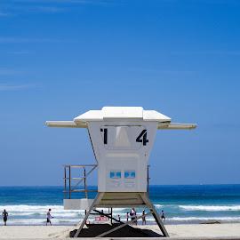 Mission Beach, San Diego, California by Ken Mickel - Landscapes Beaches ( water, california, mission beach, outdoors, ocean, fun, beach, lifeguard tower )