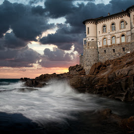 Castel Boccale Livorno (Italy) by Gianluca Presto - Buildings & Architecture Homes ( clouds, water, home, building, houses, tuscany, cliffs, waterscape, waves, cliff, sea, architecture, house, sunset, wave, cloudy, castle, sunrise, homes, italy )