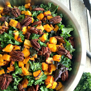 Winter Kale Butternut Squash Salad w/ Spiced Pecans