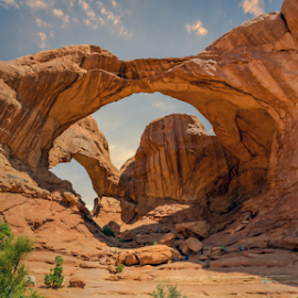 Double Arch - Arches National Park by Bill Higginson - Landscapes Deserts ( mountains, desert, arch, utah, arches, hot, national parks, sun )