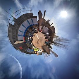 Starship K&C by Dan Horton-Szar ARPS - Instagram & Mobile iPhone ( strange, circular, canterbury, kent, tiny planet, starship, space, hospital )