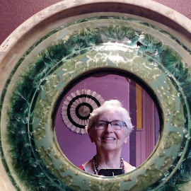 Artistic Mirror Image by Rita Goebert - Artistic Objects Other Objects ( craft company no. 6; rochester; new york; neighborhood of the arts; ceramic pottery crafts; mirrors; selfies,  )