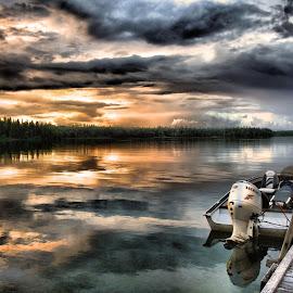 Honda Sunset by Wendy Erlendson - Transportation Boats ( honda, sunsets, sunset, lake, boat,  )