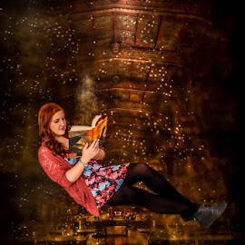 In dreams, we enter a world that's entirely our own by Studio 50 Photography - Digital Art People ( senior portrait, books, reading, high school senior, levitation, senior girl, harry potter, hogwars, zero gravity, magic, girl, magical, digital art, senior )