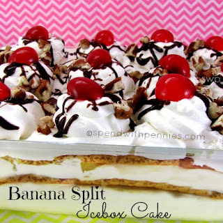 No Bake Banana Split Icebox Cake