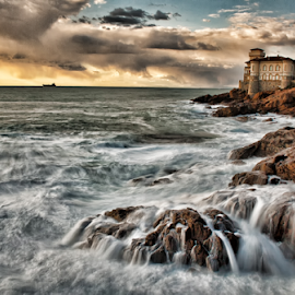 Home on the cliffs by Gianluca Presto - Buildings & Architecture Homes ( cliffs, castle, cliff, longexposure, nature, tuscany, house, sea, wave, home, mediterranean, waterscape, hdr, sunset, livorno, italy, landscape,  )