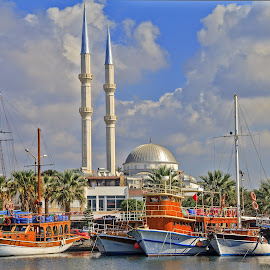 Turgutreis Old harbour Turkey by Graham Mulrooney - Transportation Boats ( water, structure, seawater, building, harbor, mosque, harbour, boats, sea, dome, turgutreis, structures, religion, islam, horizontal, buildings, republic of turkey, turkey, minarets, religious )