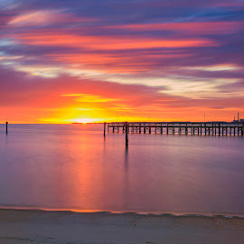 York River Dawn by James Gramm - Landscapes Sunsets & Sunrises ( water, sky, colors, long exposure, sunrise, river )