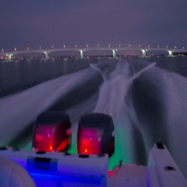 Night Rider by Joe Saladino - Transportation Boats ( wake, night, bridge, water, boat )