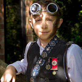Relaxed by Barry Blaisdell - Babies & Children Child Portraits ( child, cosplay, model, dress up, costume, boy, steampunk )