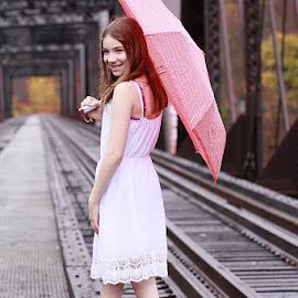 Paige by Sandy Considine - Babies & Children Child Portraits ( umbrella, white dress, young girl )