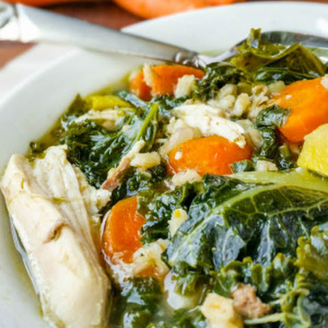 Chicken Barley Soup with Spinach & Kale