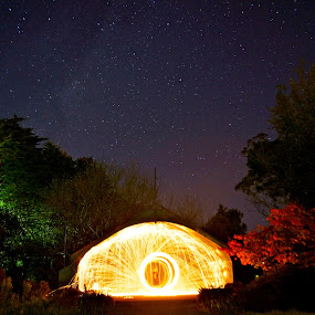 Steel wool inside of dome with milky way by Adam Scarf - Abstract Fine Art ( milkyway, light painting, steel wool, stars )