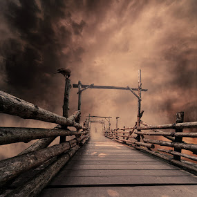 Passerby bridge by Caras Ionut - Digital Art Things ( water, clouds, wood, mystery, tutorial, ocean, sleeping, smoke, manipulation, child, psd, fog, woman, wife, fisherman, ponton, mist )