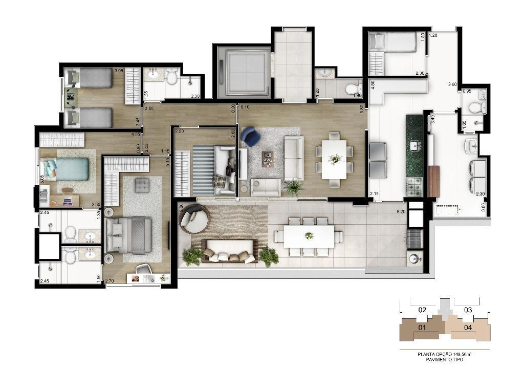 Planta Opção - 149 m²