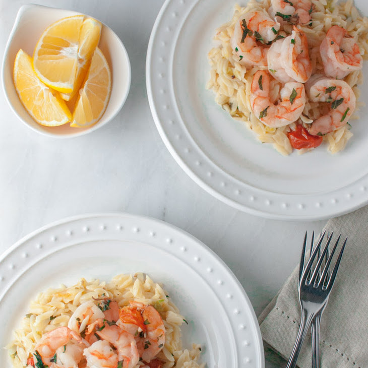 Basil Shrimp with Lemon, Feta, and Orzo Recipe | Yummly