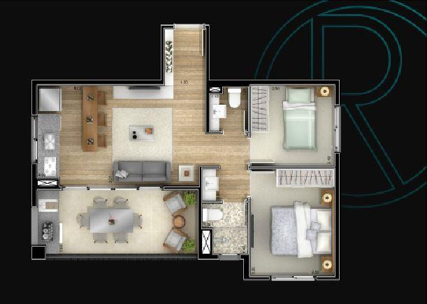 Planta 53,5 m²